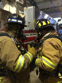 MAVFC Firefighters use the new SCBA's to supply each other air in the event of a failure or damage.